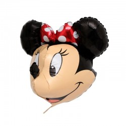 Balon cap 3D Minnie Mouse, dimensiuni 74x52 cm, aer sau heliu