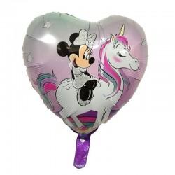 Balon folie forma inima, imprimeu Minnie cu unicorn, 45x45 cm, fetite