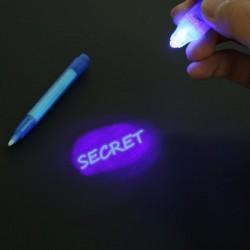Carioca cu pasta invizibila, lumina UV, 3 baterii Ag 10
