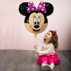 Balon folie pink Minnie Mouse, dimensiuni 61x61 cm, aer si heliu