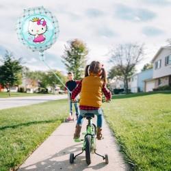 Balon folie rotund Hello Kitty, albastru, diametru 45 cm, petreceri