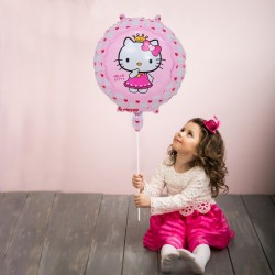 Balon folie rotund Hello Kitty, roz, diametru 45 cm, aer sau heliu