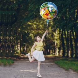 Balon folie rotund Winnie Happy Birthday, diametru 45 cm, aer sau heliu