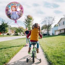 Balon folie rotund Sofia, roz, diametru 45 cm, fetite, heliu sau aer