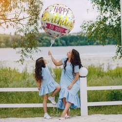 Balon folie rotund Happy Birthday, diametru 45 cm, aniversari, aer sau heliu