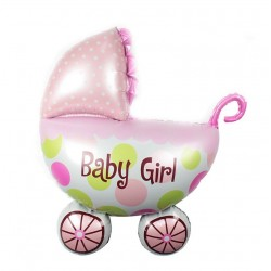 Balon carucior Baby Girl, culoare roz, 107x76 cm, fetite, aer sau heliu