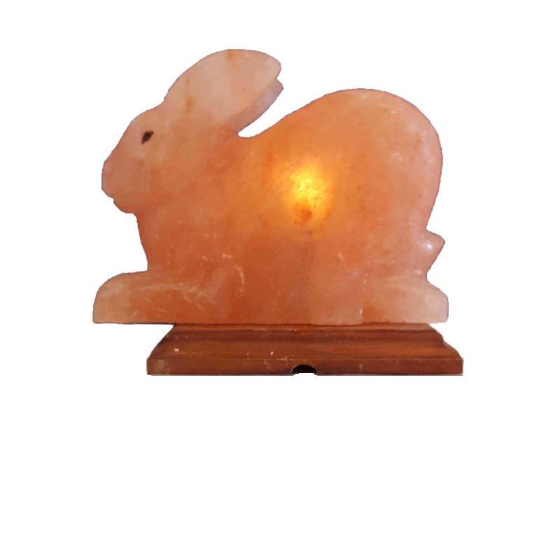 Lampa din cristale de sare Iepuras, suport de lemn, alimentare retea