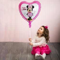 Balon folie inima Minnie, Happy Birthday, roz, 45x45 cm, heliu sau aer