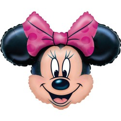 Balon folie Red Minnie Mouse, dimensiuni 62x62 cm, aer si heliu