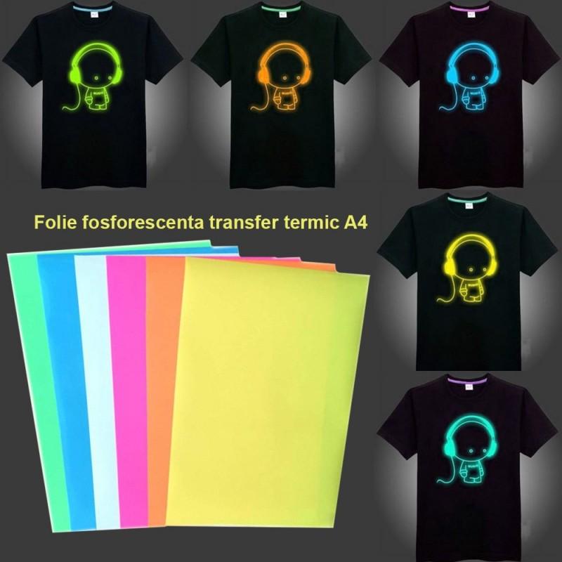 Folie fosforescenta de transfer termic, A4, efect glow in the dark, culori mixte