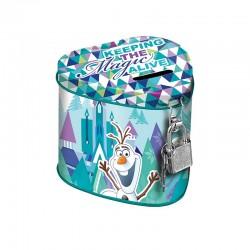 Pusculita Frozen in forma de inimioara, metalica cu lacat, 10x8 cm