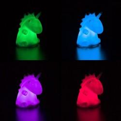 Veioza figurina unicorn, LED RGB 0.06W, 11 cm, silicon, pentru copii
