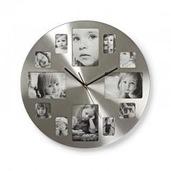 Ceas de perete cu rama foto, 12 poze, Quartz, personalizabil, argintiu