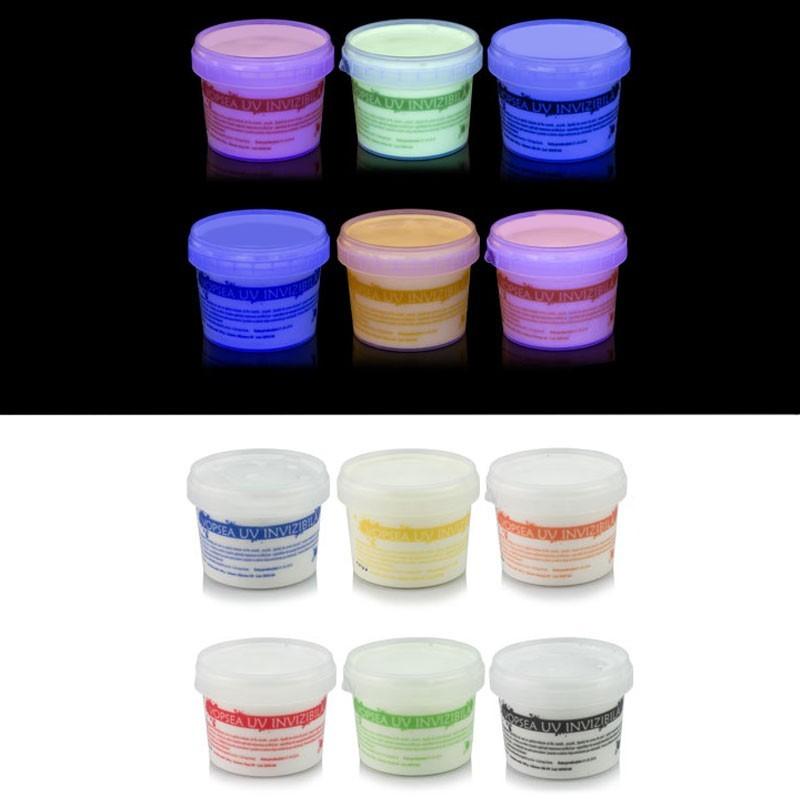 Vopsea invizibila fluorescenta reactiva UV, transparenta colorata, set 6