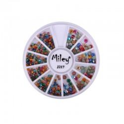 Strasuri 3D manichiura, diverse marimi, multicolore, carusel 12 compartimente