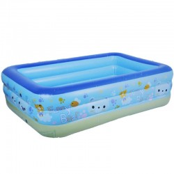 Piscina gonflabila copii, dreptunghiulara 180x140x60 cm, 3 inele, albastru