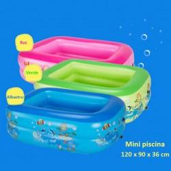 Piscina gonflabila copii, 120x90x36 cm, dreptunghiulara, imprimeu multicolor