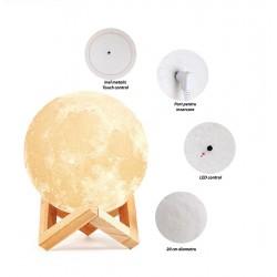 Lampa LED Luna 3D, 16 culori, luminozitate reglabila, USB, telecomanda, suport lemn