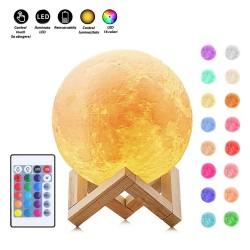 Lampa Luna 3D 20 cm, LED 16 culori, reincarcabila, telecomanda, suport lemn