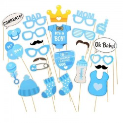 Propsuri PhotoBooth It's a Boy, petreceri botez, 20 piese, suport bat, albastru