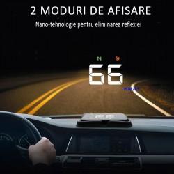 Display auto cu proiectie, LCD 3.5 inch, afisaj viteza si rotatie motor, GPS