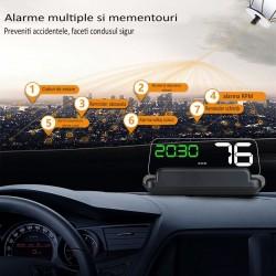 Display auto de bord, LCD 5 inch, senzor lumina, panou reflexie, conector OBD-II