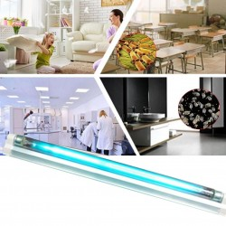 Lampa UVC bactericida 10W, tub sticla cristal quartz pentru sterilizare, fixare perete