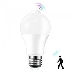 Bec LED cu senzor PIR A60, 10W, soclu E27, interior, lumina alb rece