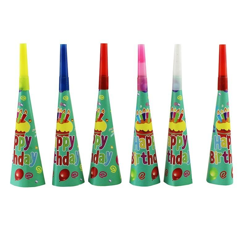 Suflatori colorate Happy Birthday pentru petreceri copii, set 6 bucati