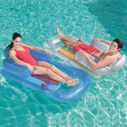 Saltea gonflabila pentru piscina, maxim 90 kg, 150x77x50 cm, suport pahar