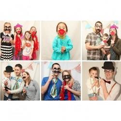Accesorii pentru poze petrecere, masti Photo Booth, 56 figurine