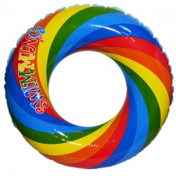 Colac de baie gonflabil Curcubeu, model fete si baieti, 80 cm, multicolor