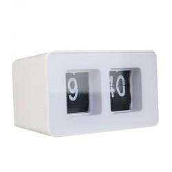 Ceas de birou auto flip, analogic, cifre arabe, alimentare baterii, alb