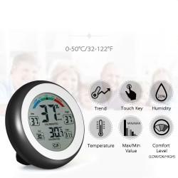 Termometru cu higrometru digital LCD, ecran tactil, magnet, 9 cm, negru