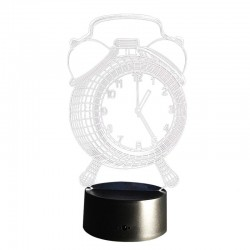 Lampa 3D forma ceas, LED 7 culori, control touch, alimentare duala, suport ABS