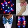 Papion cu LED RGB, aplicatii paiete, material textil, 11.5x6.5 cm, petrecere