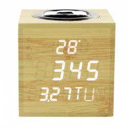 Ceas digital de birou, LED alb, senzor sunet, suport creioane, temperatura, data