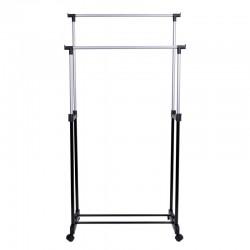 Suport dublu pentru umerase, inaltime reglabila, 159 cm, bare metal, argintiu-negru