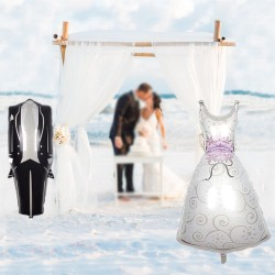 Balon folie rochie mireasa, 70x45, multicolor, decor nunta