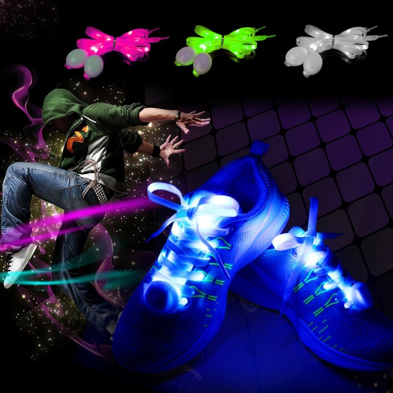 Sireturi cu LED, 3 moduri de iluminare, 110 x 0.8 cm, textil