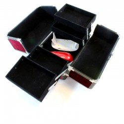 Geanta eleganta pentru cosmetice, organizator, 5 compartimente, violet
