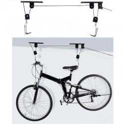 Suport bicicleta cu scripete, fixare tavan, material otel, capacitate 20 kg, negru
