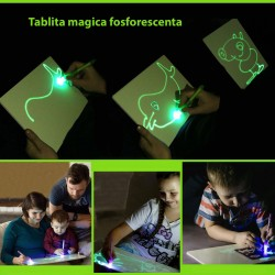 Tablita magica fosforescenta rescriptibila cu marker UV
