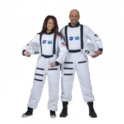 Costum comandant naveta spatiala, unisex, poliester, adulti, alb
