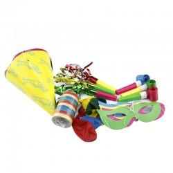Set petrecere pentru copii, 21 piese multicolore, 6 accesorii diferite