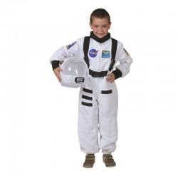Costum comandant naveta spatiala pentru copii, poliester, alb