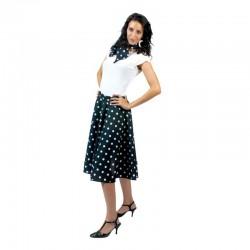 Costum Rock'n Roll dama, fusta, esarfa, model buline, negru