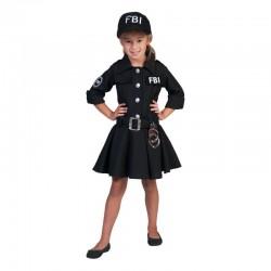 Costum FBI fetite 6-12 ani, 3 piese, material poliester, negru