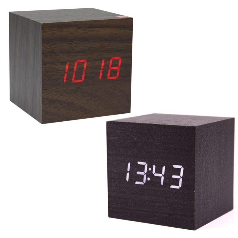 Ceas digital forma cubica, LED rosu, senzor de sunet, alarma, termometru