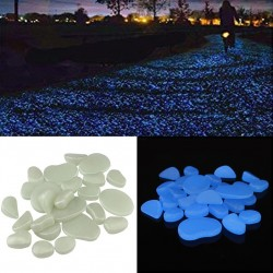Pietricele decorative fosforescente albe care lumineaza albastru,  acril, efect glow